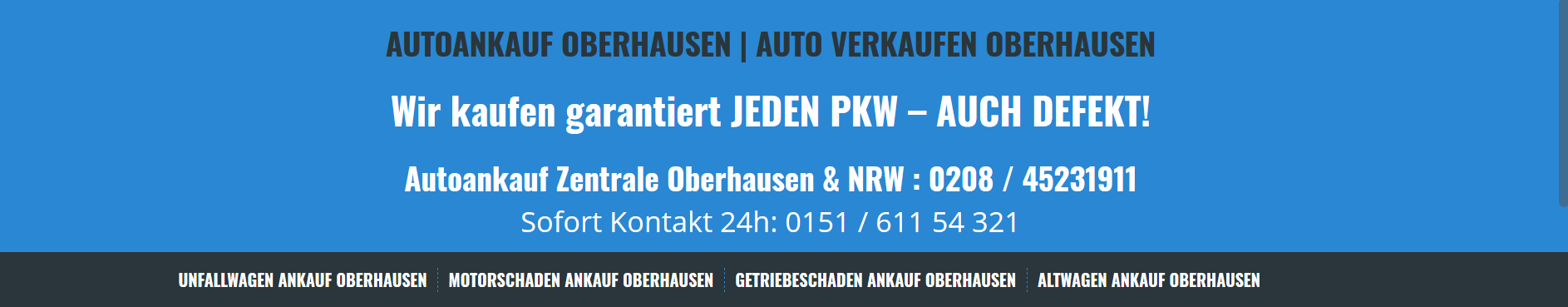 Autoankauf Oberhausen – Garantierter Ankauf Ihres Fahrzeuges druch Autoankauf Oberhausen