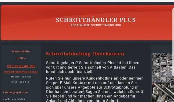 Schrottabholung Oberhausen Unser Service Abholung von Altmetallen kostenlos Abholung