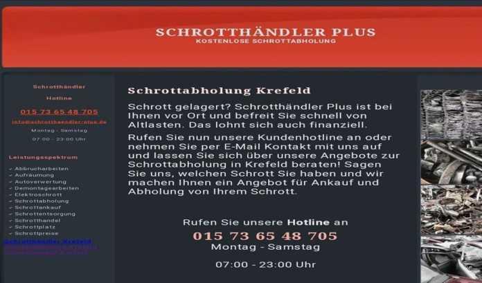 Kostenlose Schrottabholung in Krefeld