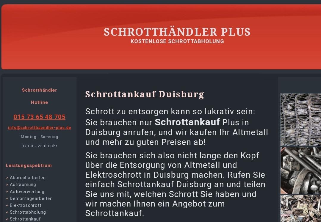 Schrottankauf in Duisburg und Umgebung für beste Preise mit Schrotthaendler-plus