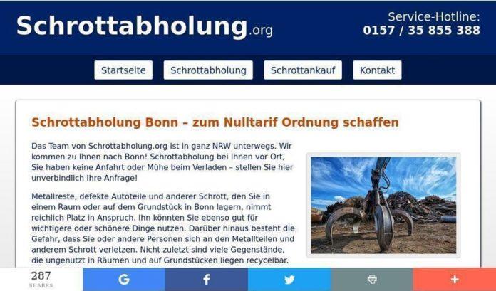 Die kostenlose Schrottabholung in Bonn
