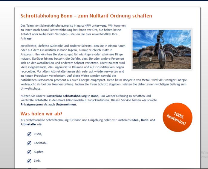 Schrottabholung in Bonn