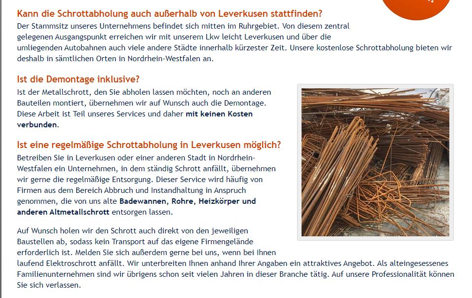 Schrottabholung in Leverkusen einfach unkompliziert Schnell Und Zuverlässig