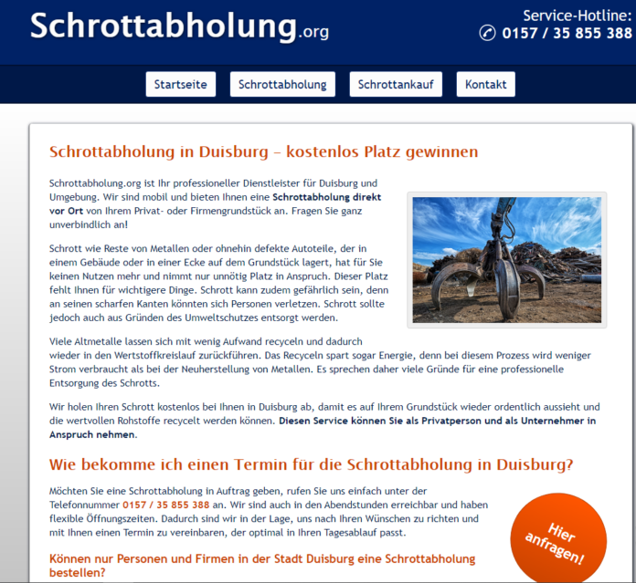 Schrottabholung in Duisburg Schrott-Recycling so wichtig ist der Schutz von Ressourcen
