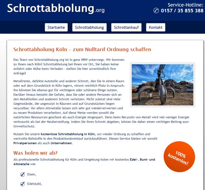 Schrottabholung in Köln: Metall aller Art abholen lassen bei Schrottabholung.org