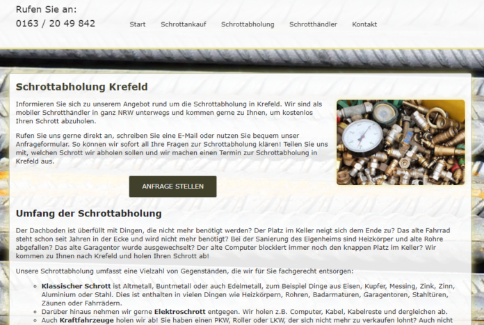 Kostenlose Schrottabholung in Krefeld sofort