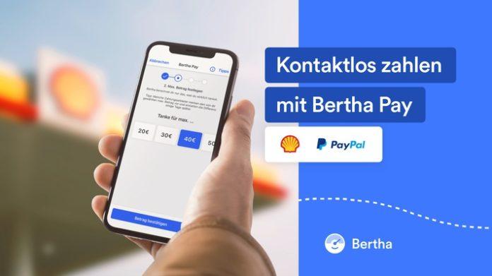 Bertha Pay jetzt auch bei Shell mit PayPal verfügbar Tankfüllung kontaktlos an teilnehmenden Shell Tankstellen deutschlandweit vom Auto oder Motorrad per Smartphone bezahlen