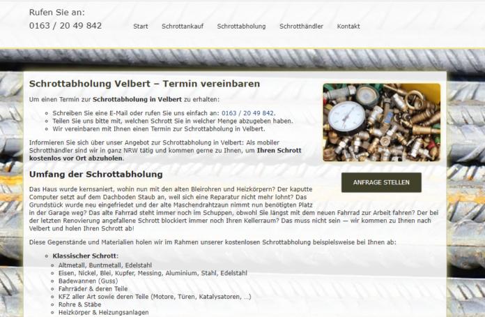 Die Schrottabholung Velbert Bietet Die Abholung Von Schrott Sowie Den Ankauf Von Metallschrott In Ganz NRW