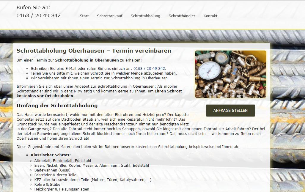 Schrottabholung Oberhausen