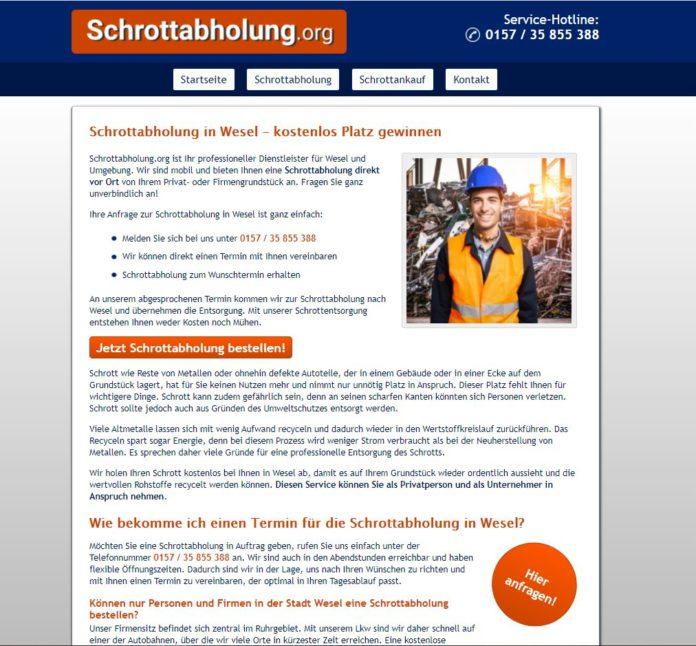 Kostenlose Schrottabholung in Wesel