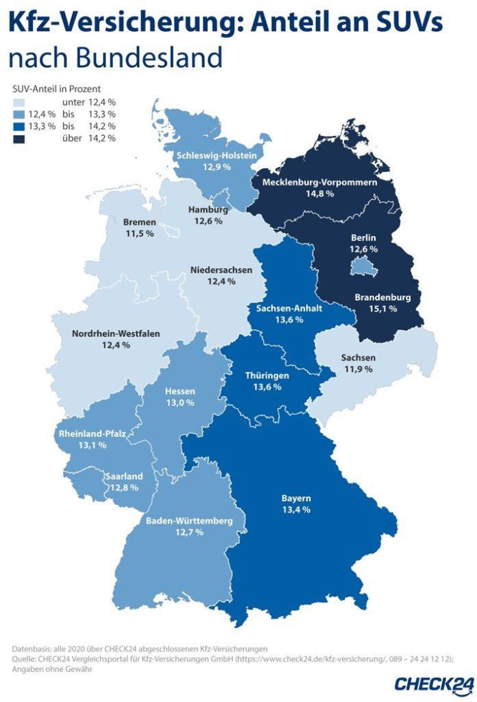 Kfz-Versicherung: Die meisten SUV sind in Brandenburg unterwegs