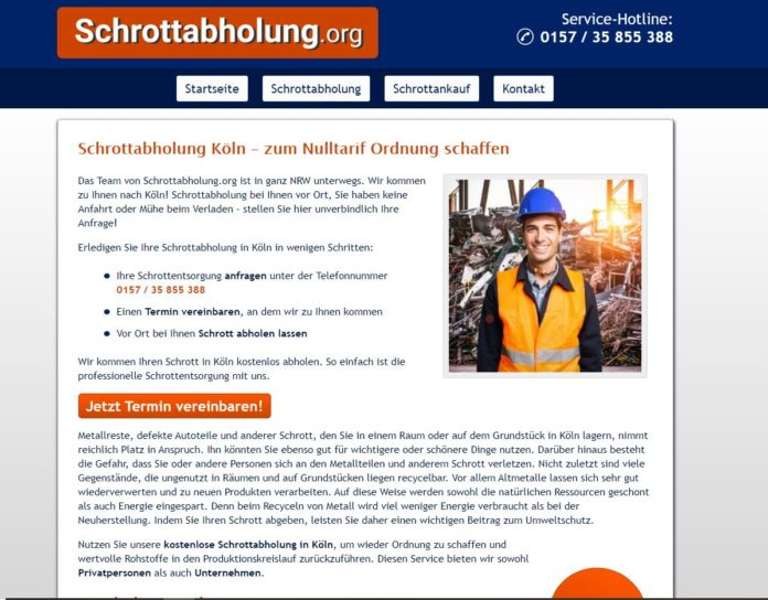 Schrottabholung Köln durch Profi