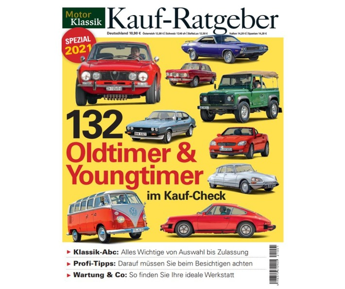 Rekord bei MOTOR KLASSIK: Neuer Kauf-Ratgeber mit erstmals 132 Oldtimern und Youngtimern im Kauf-Check