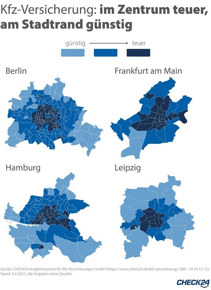 Kfz-Versicherung: Gleiche Stadt, andere PLZ - bis zu 19 Prozent Beitragsunterschied