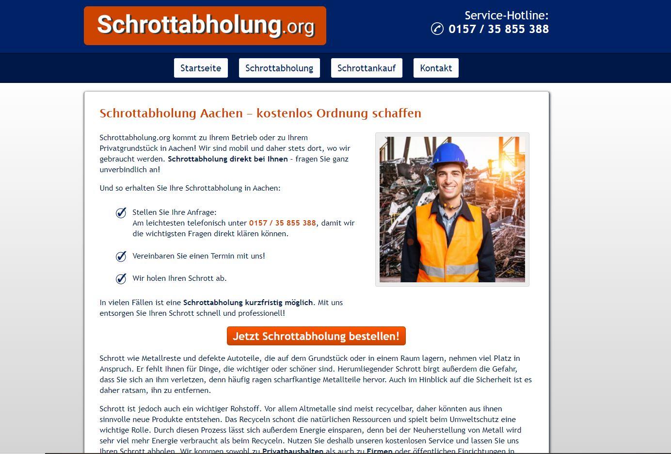 In Aachen: Wir holen ihren Schrott kostenlos ab