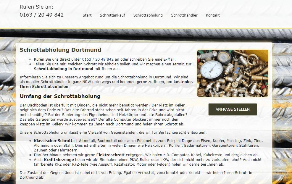 Die Schrottabholung Dortmund kauft Schrott aller Art bei seinen privaten und gewerblichen Kunden in Dortmund und dem gesamten Ruhrgebiet an.