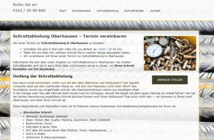 Schrottabholung Oberhausen: Wir sammeln Altmetall und Eisen