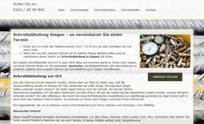 Schrottabholung in Siegen