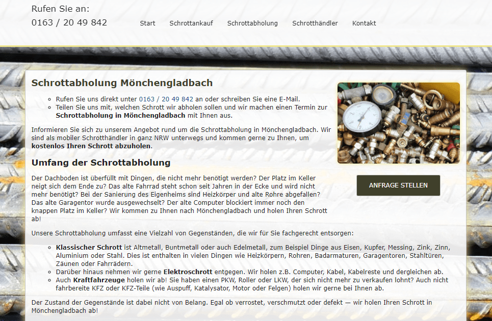 Schrottabholung in Mönchengladbach
